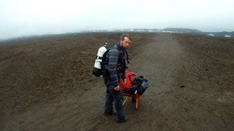 at the Askja crater field -equipment transport...