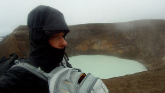 after diving in the volcano lake Öskjuvatn -Askja crater -in background the crater Viti